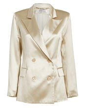 Lauren Satin Double Breasted Blazer, GOLD, hi-res