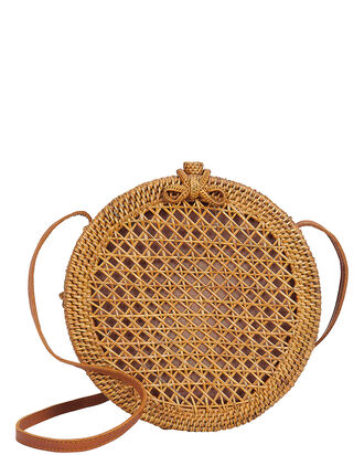Annika Crossbody Bag, DARK BROWN RAFFIA, hi-res