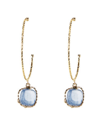 Nettare Blue Stone Gold Hoop Earrings, GOLD/BLUE, hi-res