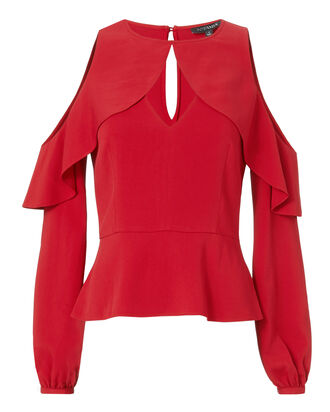 Sienna Cutout Cold Shoulder Top, RED, hi-res