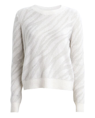 Germaine Zebra Alpaca-Blend Sweater, IVORY, hi-res