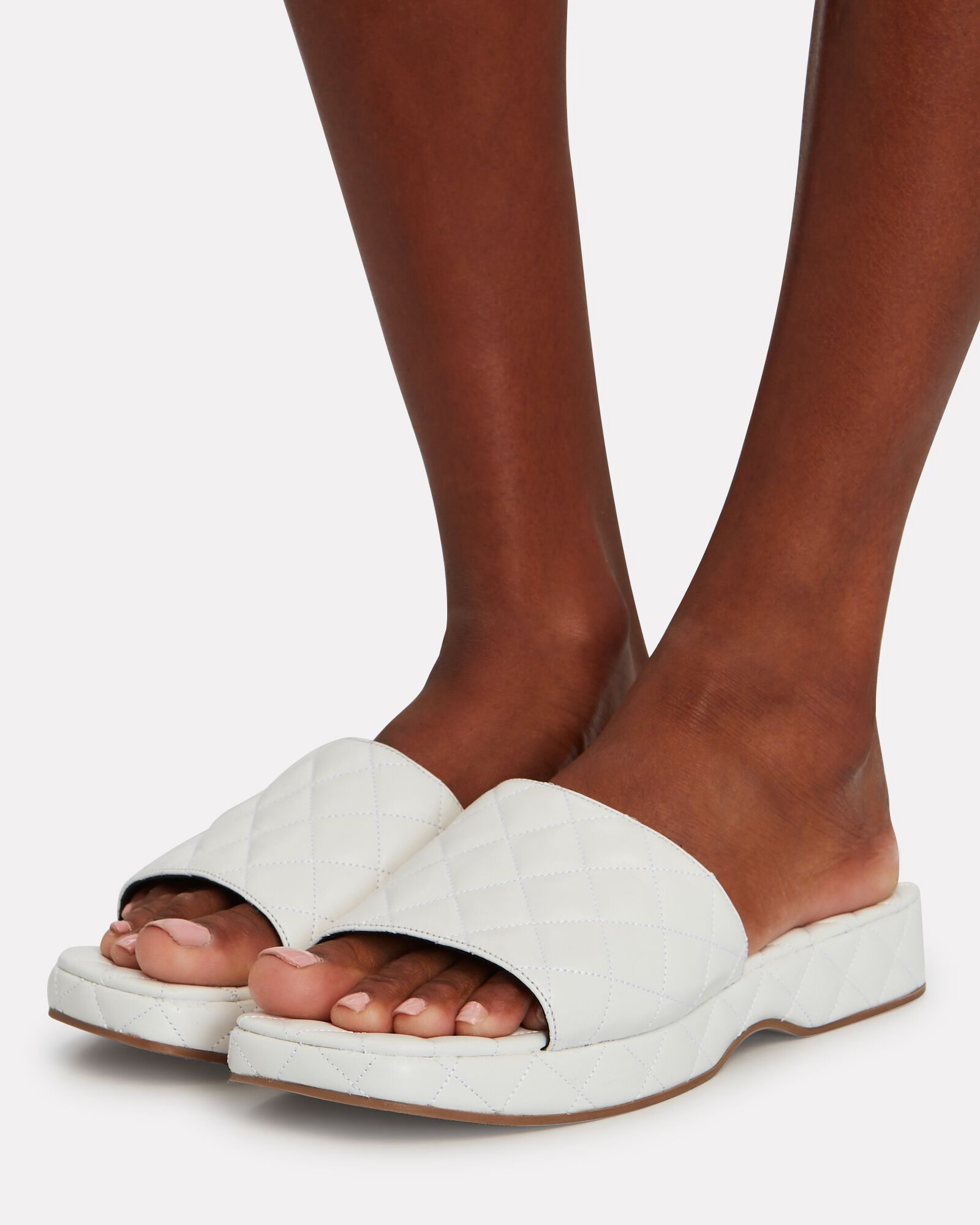Lilo Quilted Leather Slide Sandals, WHITE, hi-res