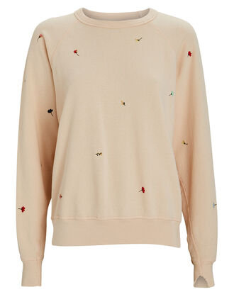 The College Floral Embroidery Sweatshirt, BLUSH, hi-res