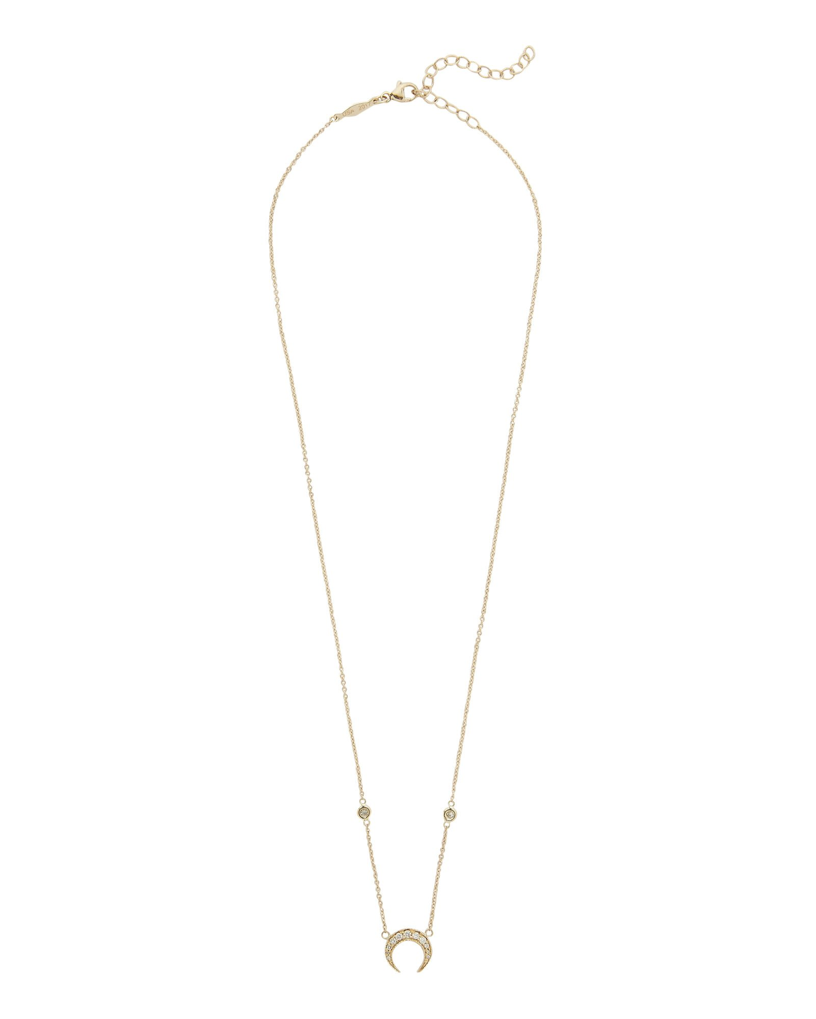 Diamond Crescent Moon Necklace, GOLD, hi-res