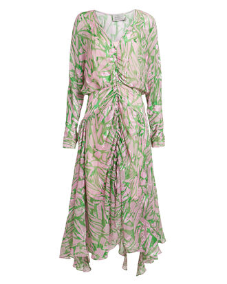 Marlie Satin Devoré Midi Dress, GREEN/PINK, hi-res