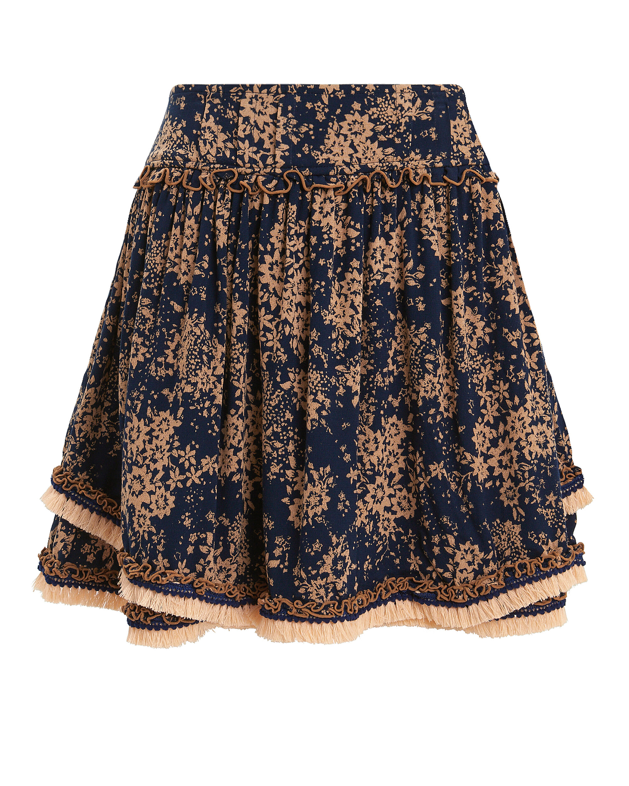 Heidi Wrap Mini Skirt, NAVY/PEACH FLORAL, hi-res