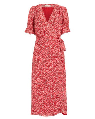 Claret Midi Dress, RED/WHITE/FLORAL, hi-res