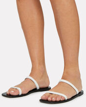 Lola Snake-Embossed Leather Sandals, WHITE, hi-res
