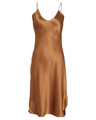 Knee-Length Silk Slip Dress, , hi-res