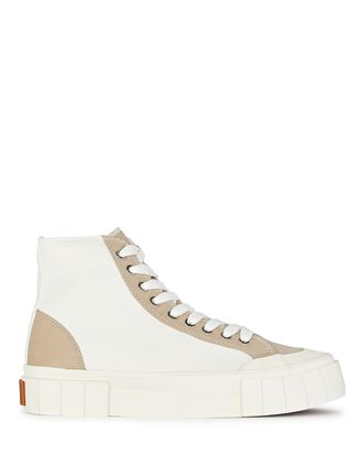 Palm Canvas High-Top Sneakers, WHITE, hi-res