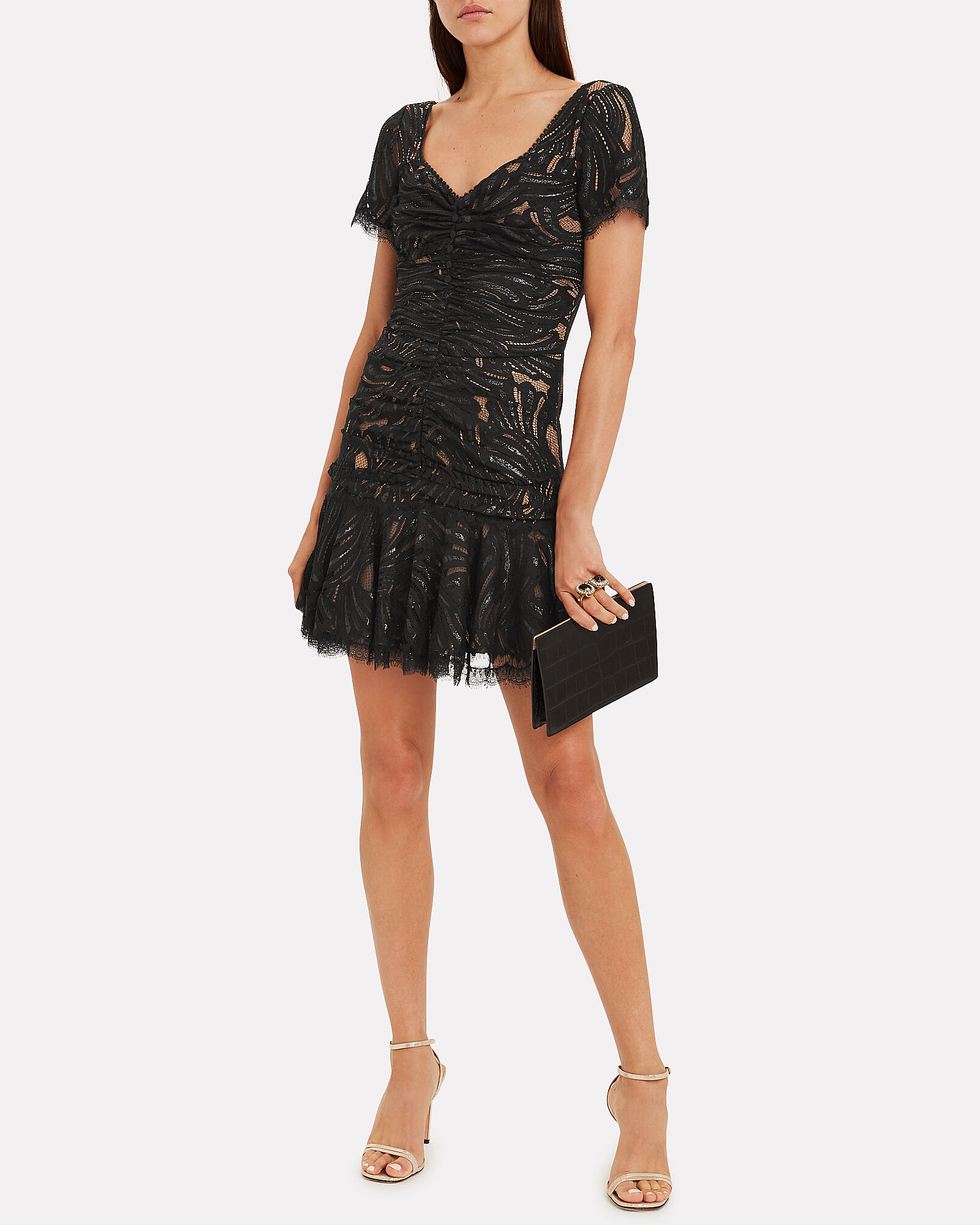 Metallic Lace Ruffle Dress, BLACK, hi-res