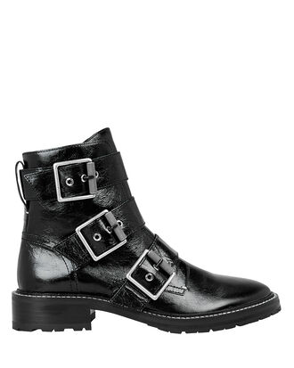 Cannon Black Buckle Boots, BLACK, hi-res