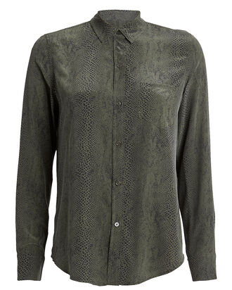 Kate Python Silk Shirt, SAGE/COBRA PRINT, hi-res