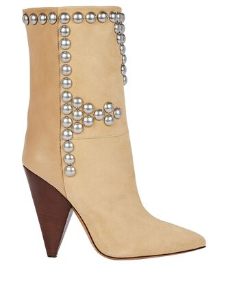 Layo Studded Suede Ankle Boots, BEIGE, hi-res