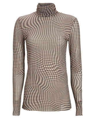 Check Printed Mesh Turtleneck Top, MULTI, hi-res
