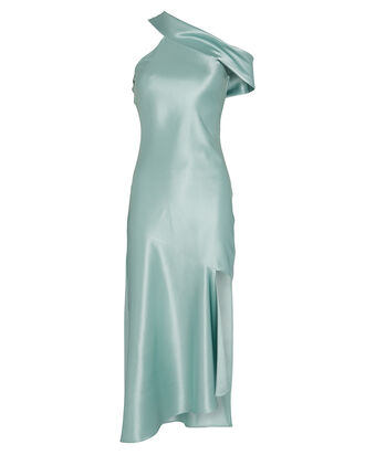Draped Asymmetrical Midi Dress, SEAFOAM, hi-res