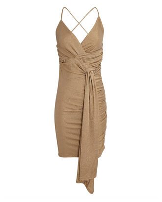 Deia Ruched Sleeveless Mini Dress, GOLD, hi-res