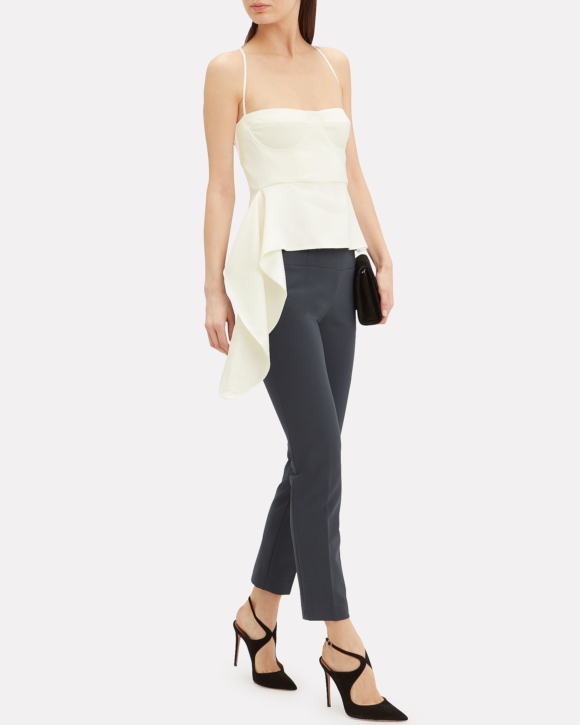 Drape Accent Bustier Suiting Top, IVORY, hi-res