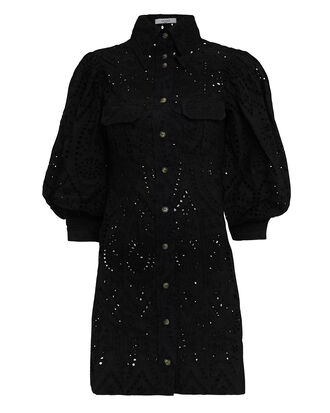 Broderie Anglaise Mini Dress, BLACK, hi-res