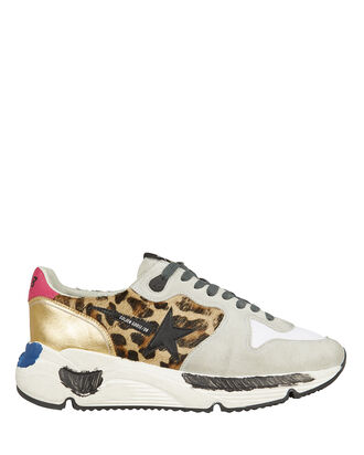 Running Sole Leopard Calf Hair Sneakers, LEOPARD/GREY/GOLD, hi-res