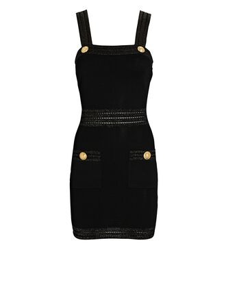 Sleeveless Knit Mini Dress, BLACK, hi-res
