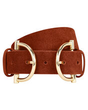 Blake Double Buckle Waist Belt, BROWN, hi-res