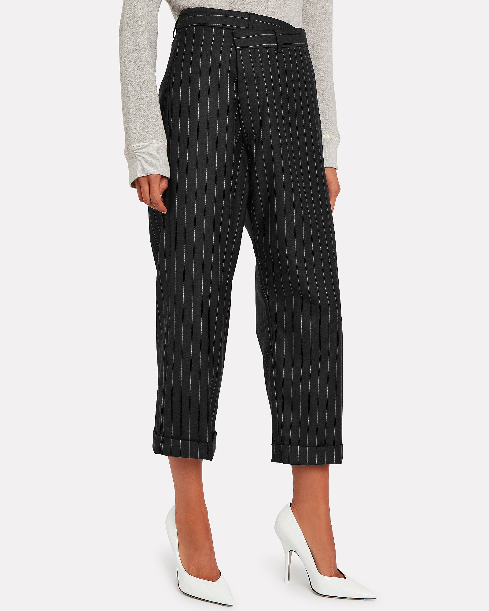 Crossover Pinstripe Wool Trousers, CHARCOAL/IVORY STRIPE, hi-res