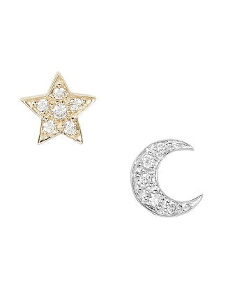 Two-Tone Crescent Moon and Star Studs, GOLD/SILVER, hi-res