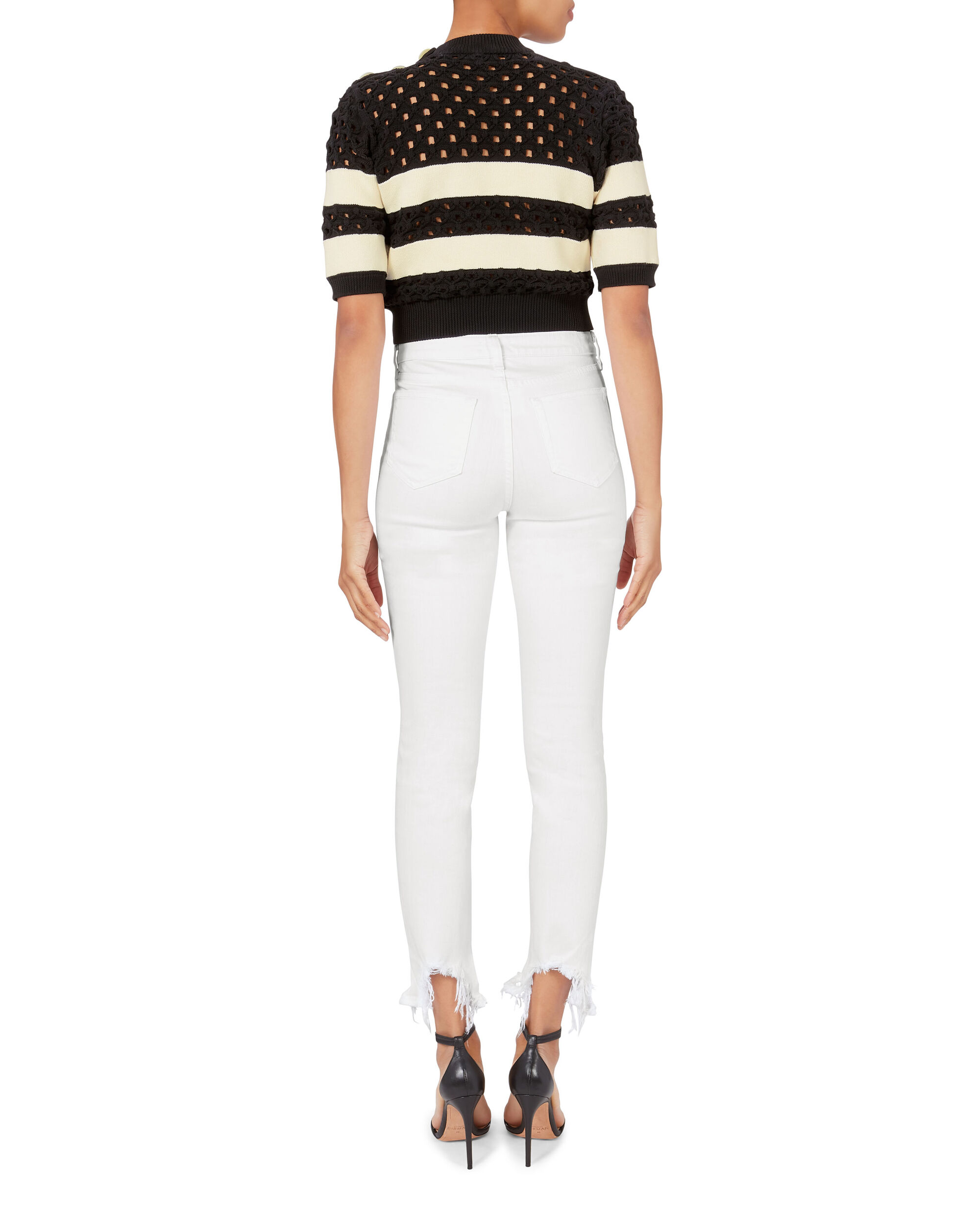 High Line Blanc Destructed White Jeans, WHITE, hi-res