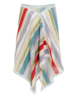 Striped Shawl, RED/SILVER/BLUE, hi-res