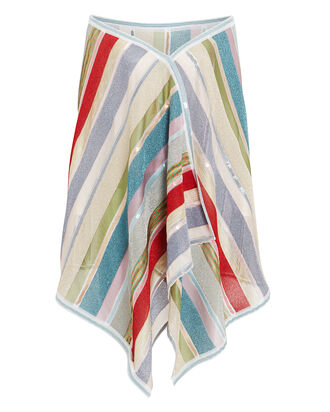 Stripe Sparkle Shawl, RED/SILVER/BLUE, hi-res