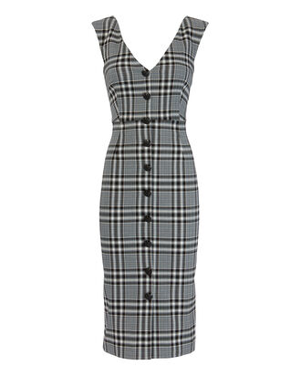 Lark Plaid Midi Dress, BLK/WHT, hi-res