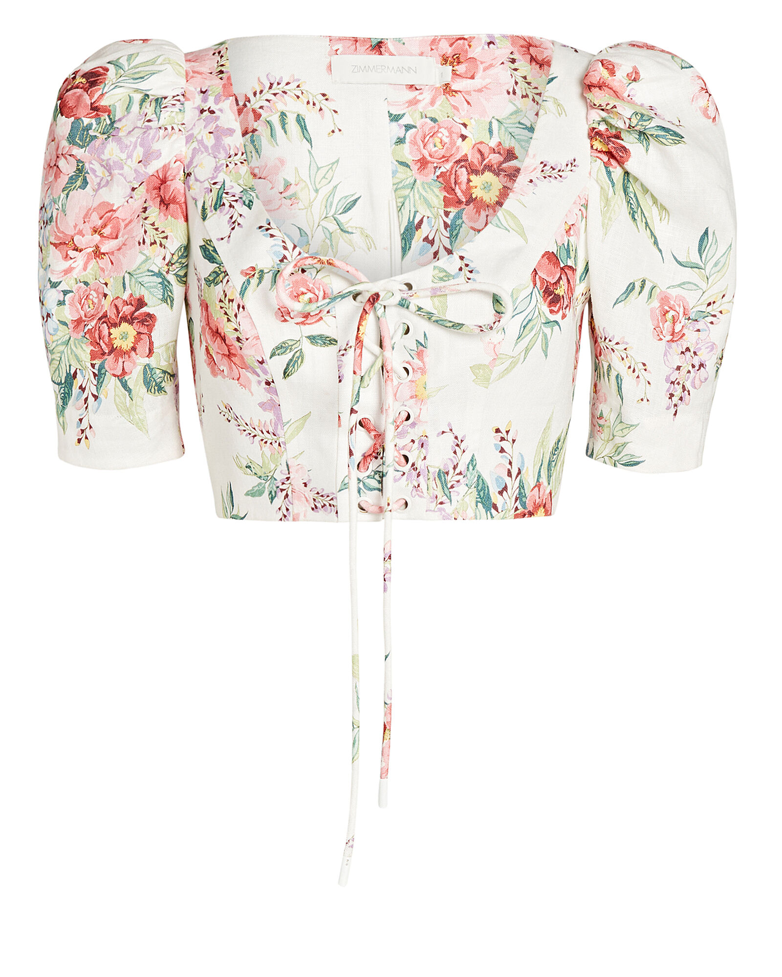 Bellitude Floral Crop Top, WHITE/PINK, hi-res