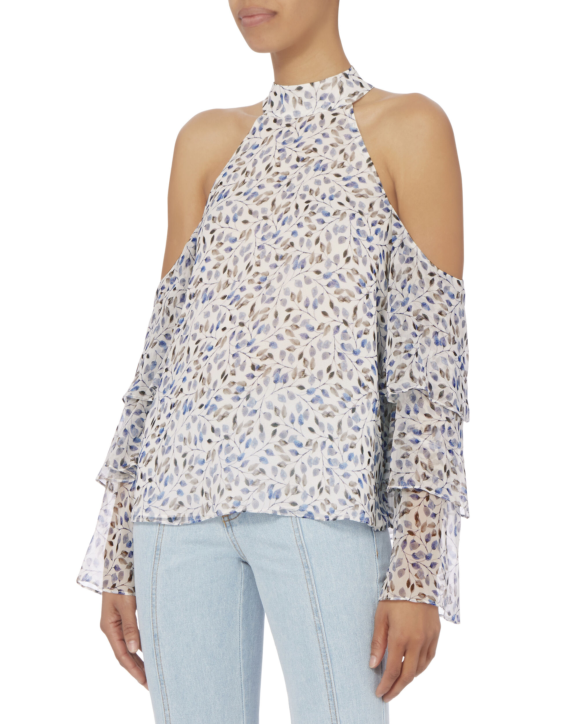 Nora Cold Shoulder Top, PRINT, hi-res