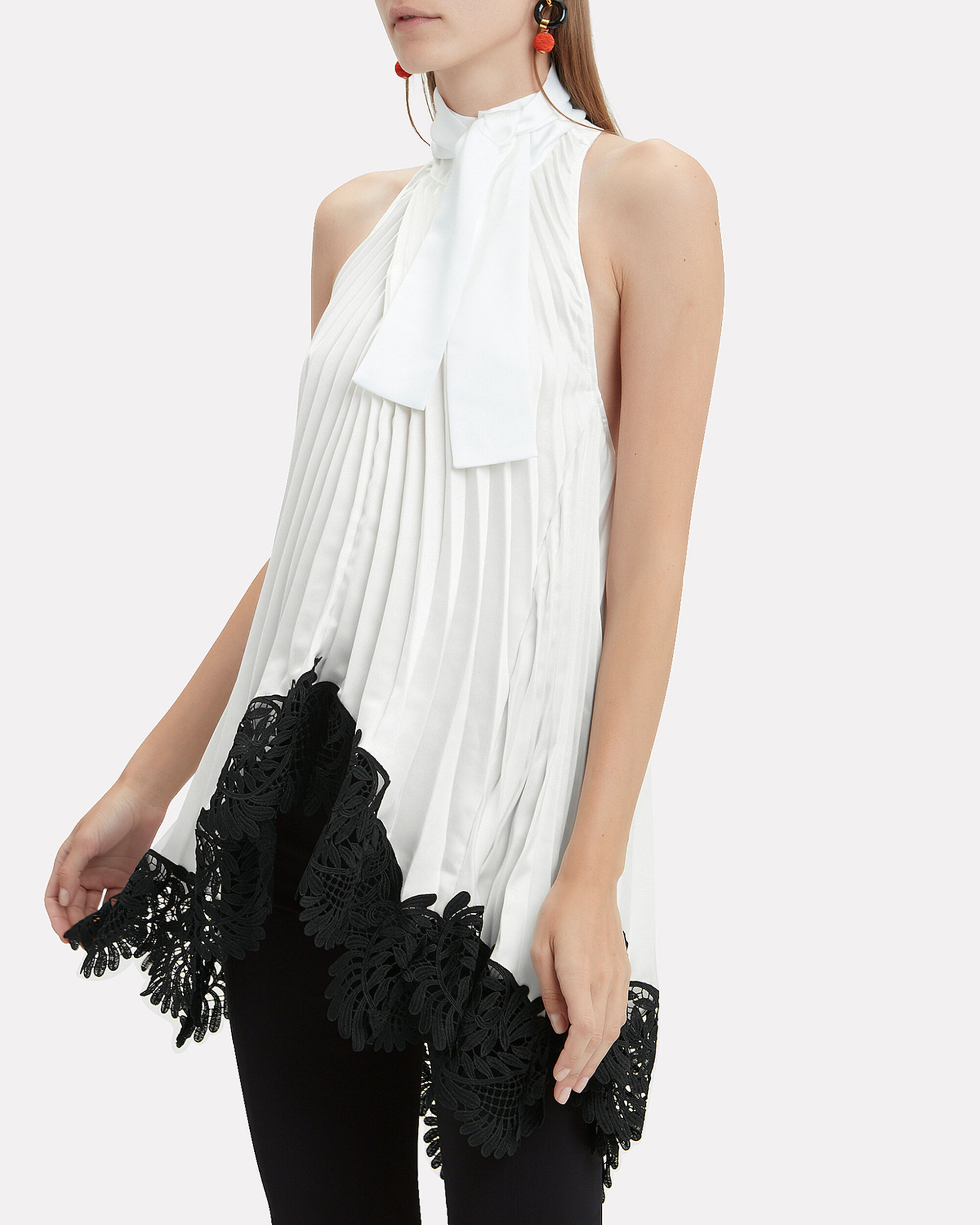 Pleated Lace Top, IVORY/BLACK, hi-res