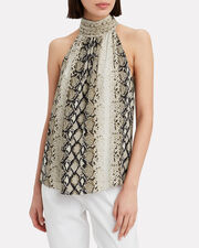 Branka Snakeskin Print Sleeveless Blouse, BROWN/SNAKESKIN, hi-res