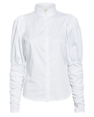 Nila Puff Sleeve Button Down, WHITE, hi-res