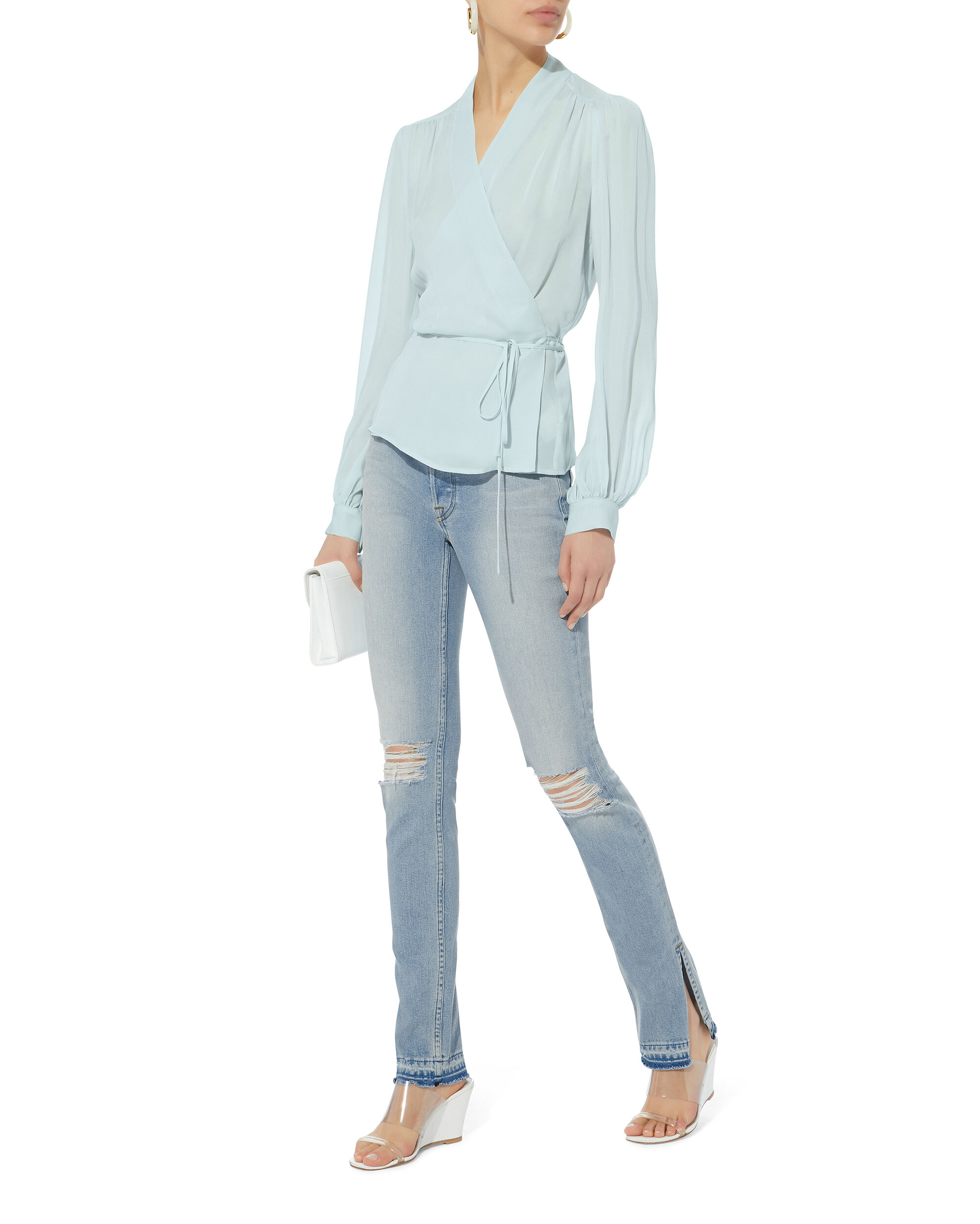 Cara Blue Wrap Blouse, BLUE-LT, hi-res