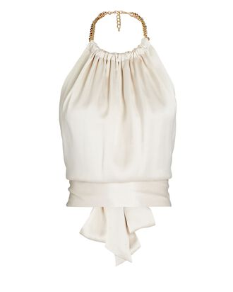 Power Chain-Trimmed Silk Halter Top, IVORY, hi-res