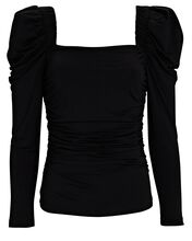 Betty Puff Sleeve Knit Top, BLACK, hi-res