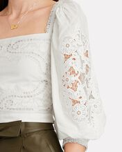 Embroidered Puff Sleeve Crop Top, WHITE, hi-res