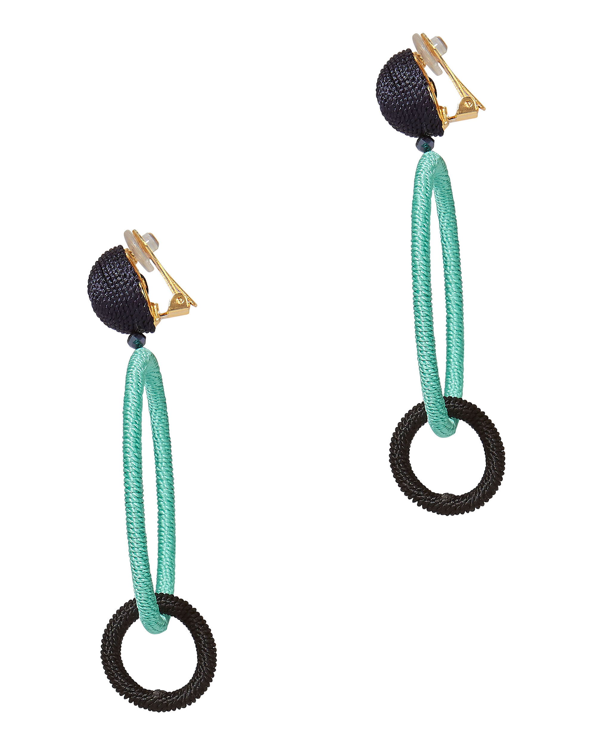 Blue Two-Tone Beaded Double Hoops, BLUE-LT, hi-res