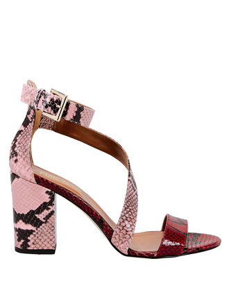 Snakeskin Embossed Sandals, PINK, hi-res