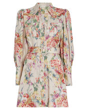 Wavelength Belted Floral Linen Dress, BLUSH FLORAL, hi-res