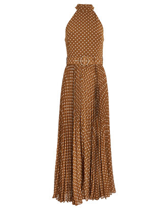 Espionage Pleated Halter Picnic Dress, DIJON/POLKA DOT, hi-res