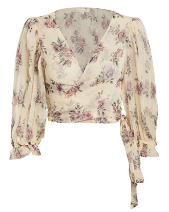 Domino Floral Wrap Top, IVORY FLORAL, hi-res