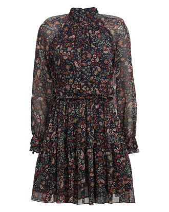 Paisley Print Georgette Mini Dress, NAVY/PAISLEY PRINT, hi-res