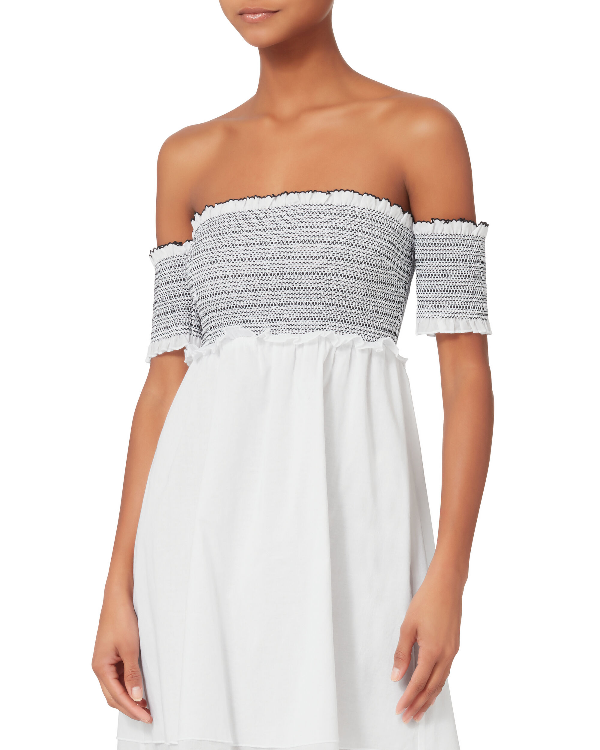Aya Smocked Off Shoulder Mini Dress, WHITE, hi-res