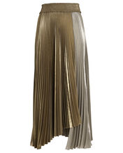 Neville Pleated Lamé Skirt, MULTI, hi-res