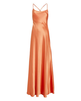 Serena Tie Back Satin Gown, ORANGE, hi-res